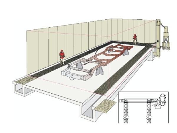 伸缩式喷砂房设计图